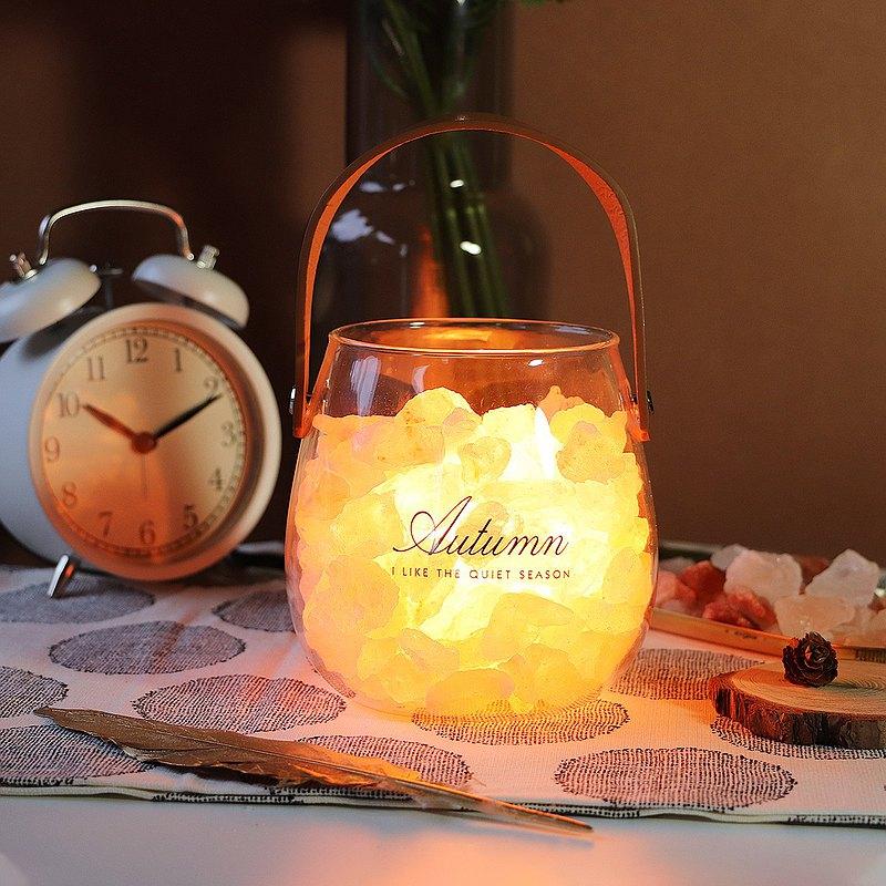 玻璃鹽燈|來自喜馬拉雅山的珍貴禮物,散發正能量與療癒身心的柔光,並採用MIT安檢電線,讓您24hr點燈安心,出外放心。