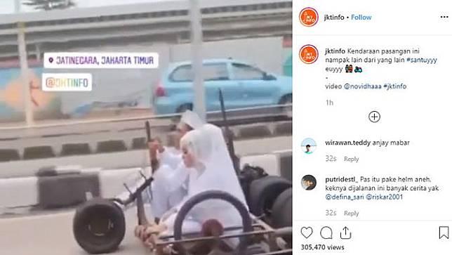 Pengantin Ini Pakai Vespa Gembel Sebagai Kendaraan Pernikahan (Instagram @jktinfo)