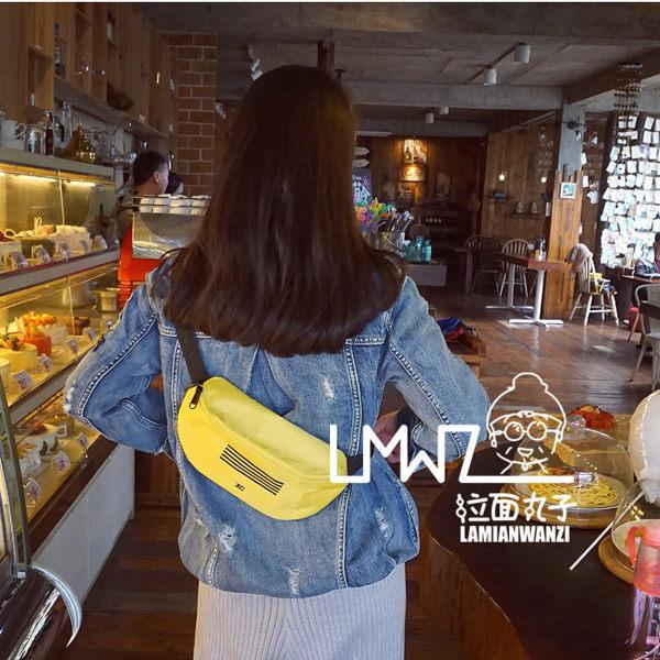 拉面丸子 韓國專輯刺繡情侶男女學生戶外運動腰包胸包 斜斜背單肩包