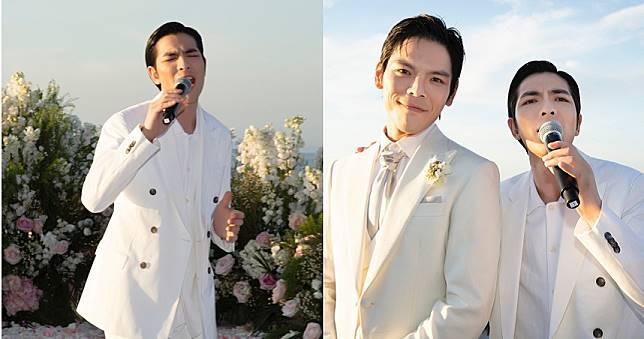 蕭敬騰預習當新郎 一身白帥帥義大利參加好友向佐、郭碧婷婚禮