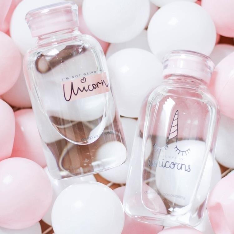 玻璃杯 奶茶杯 軟萌可愛少女學生粉色情侶小清新便攜創意透明情侶奶茶飲料吸管杯