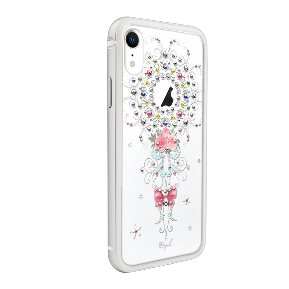 apbs iPhone XR 6.1吋施華彩鑽鋁合金屬框手機殼-銀色101次求婚