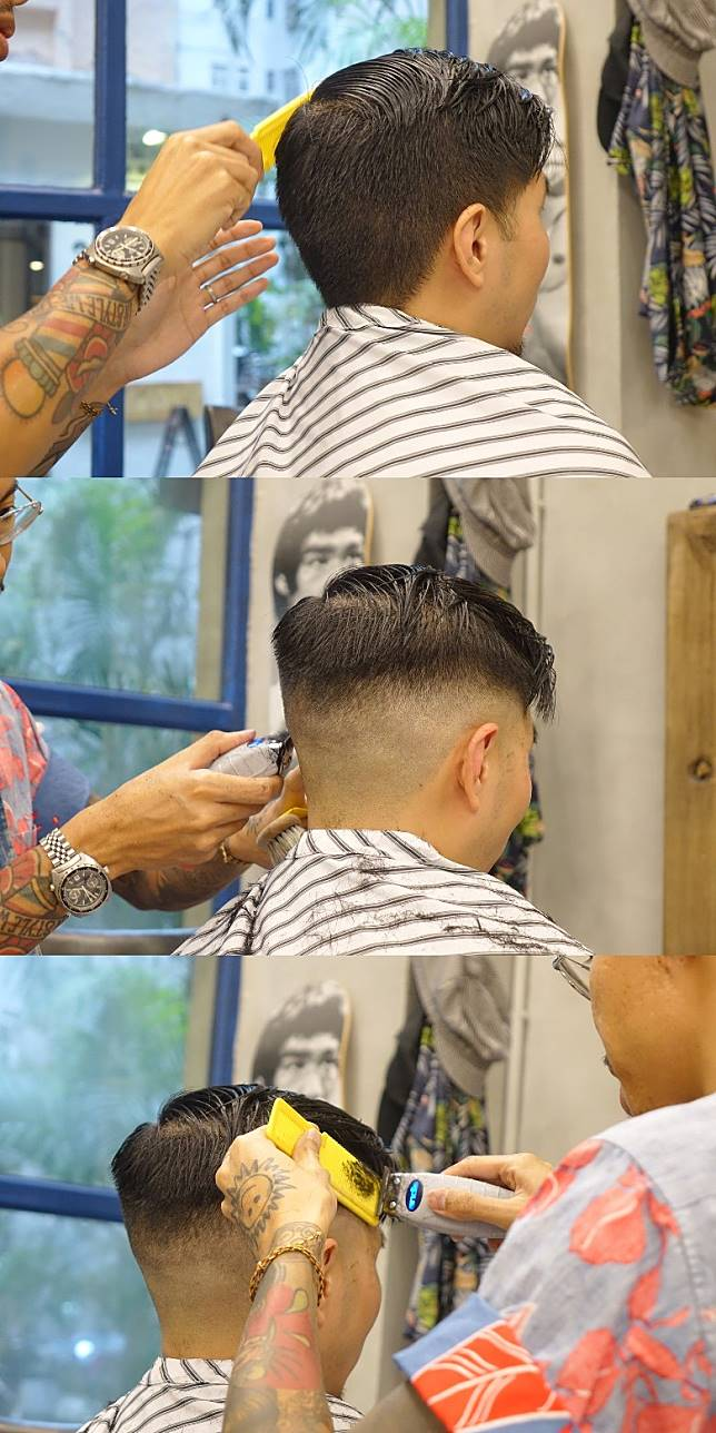 開始剪髮時,會以髮梳整理出界線,繼而用上不同電剷造出Fading效果,並修剪出畢直髮型輪廓。(胡振文攝)