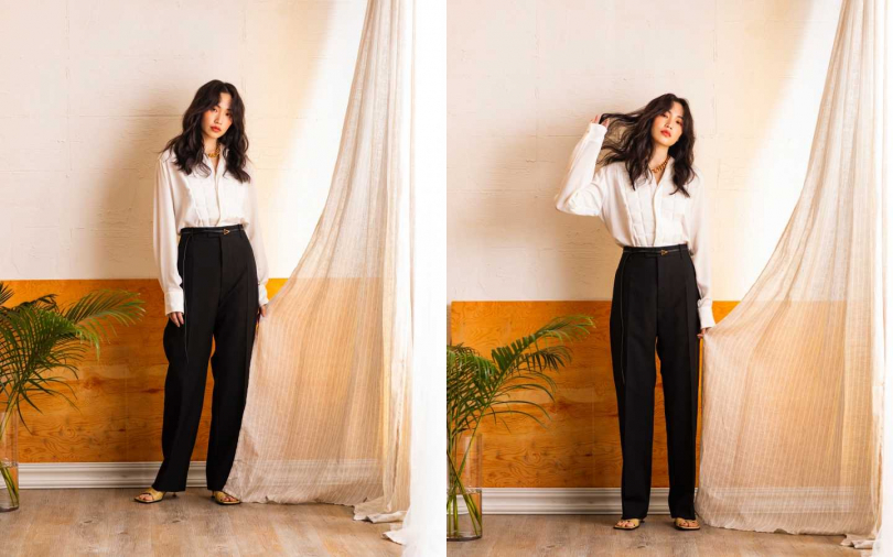 Bottega Veneta Shirt 襯衫/49,900元、Pants 西裝褲/32,000元、Sandals 跟鞋/27,000元、Necklace 項鍊/價格未定(圖/莊立人 攝)