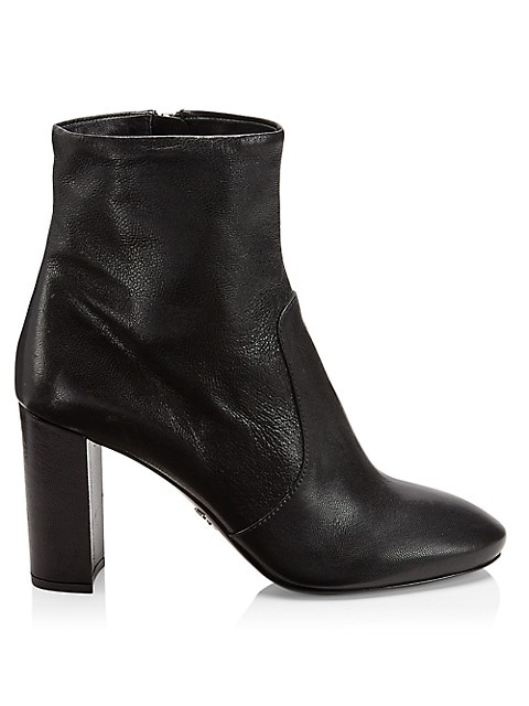 Minimal stacked-heel ankle boots in a supple leather.; Leather upper; Round toe; Side zip closure; L