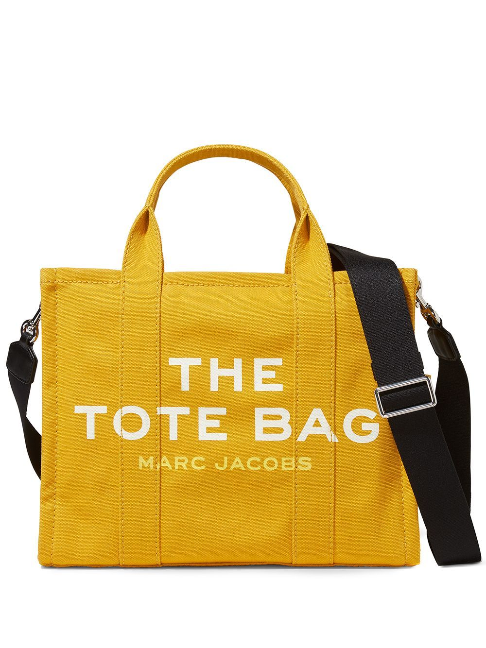 Yellow cotton The Small Traveler tote bag from Marc Jacobs featuring logo print to the front, logo p