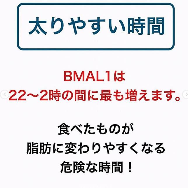晚上10點至凌晨2點是BMAL1分泌量最多的時間,想增肥記得食多啲。 (互聯網)