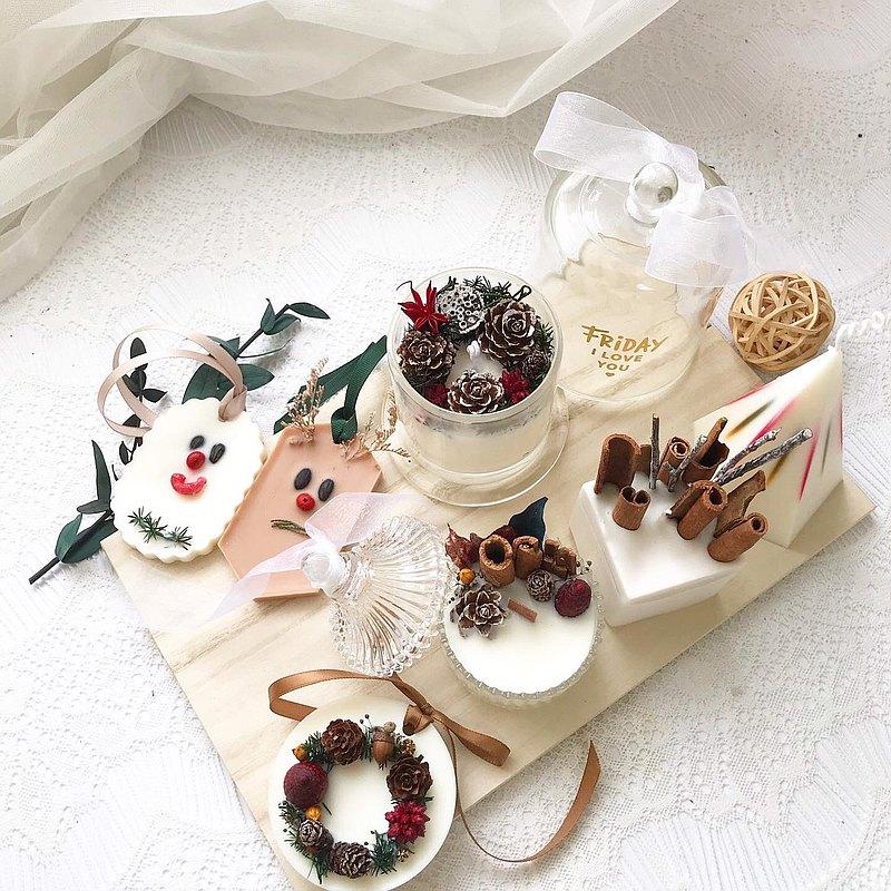 ?????????????!? ????? ? 玻璃鐘罩蠟燭 & 麋鹿雪人香氛片。 ????? ? 肉桂蠟燭&聖誕光譜蠟燭。 ????? C 蒙古包裝飾蠟燭&聖誕花圈香氛片。