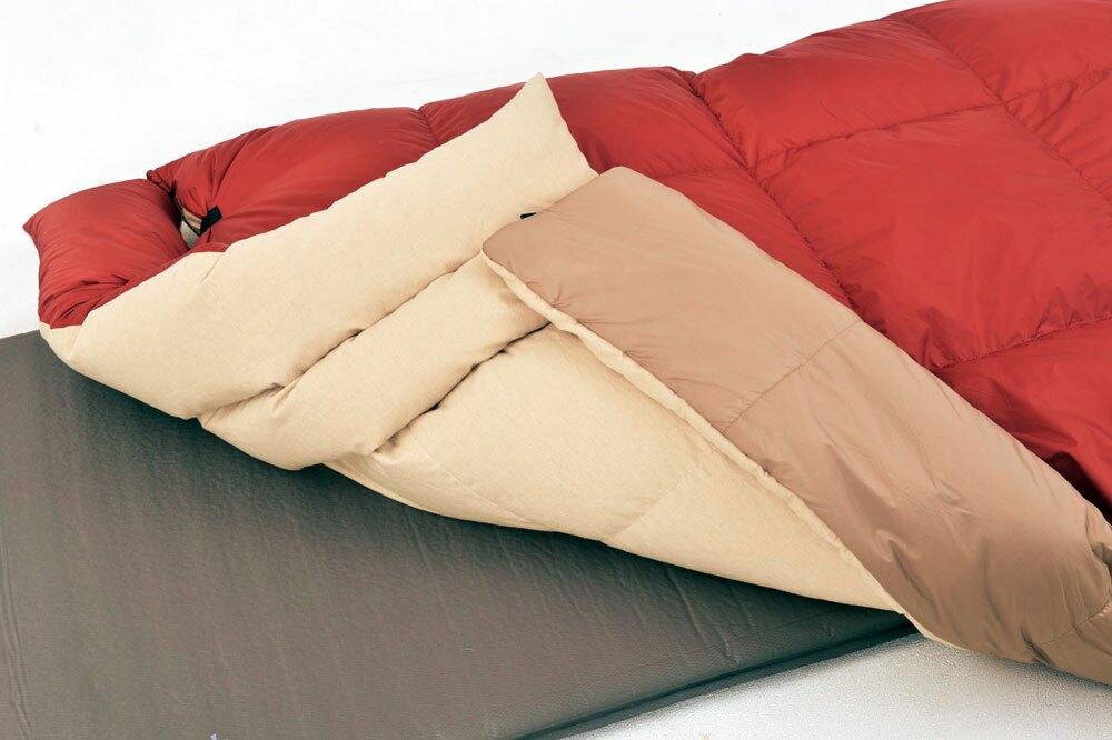 更勝睡袋一籌的舒適性。 從露營=睡袋的既有觀念中跳脫,體驗享受家用羽絨被等級的舒適感。