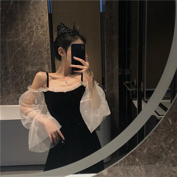 長袖洋裝韓風木耳邊網紗拼接很仙的連衣裙女露肩吊帶裙修身長袖中長款裙子 小天使