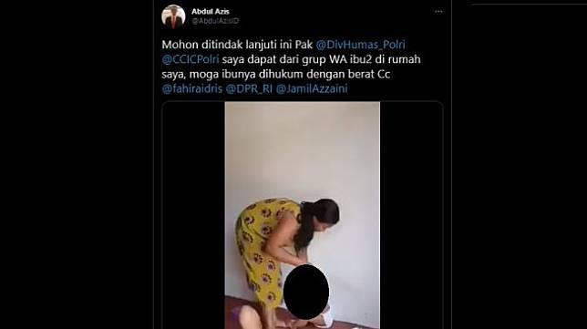 Video wanita pukuli balita. [Twiitter/@AbdulAzisID]