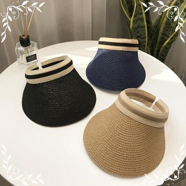 新款多色簡約氣質蝴蝶結草編空頂帽子防曬遮陽帽太陽帽