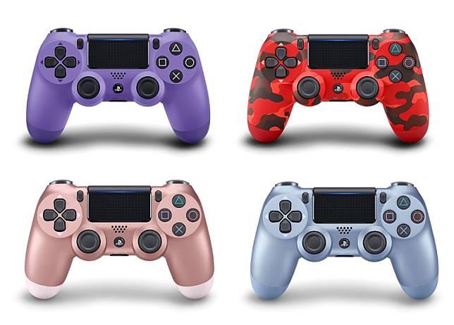 DUALSHOCK 4遊戲手掣用上電光紫、迷彩紅、玫瑰金及鈦金藍新色。(互聯網)