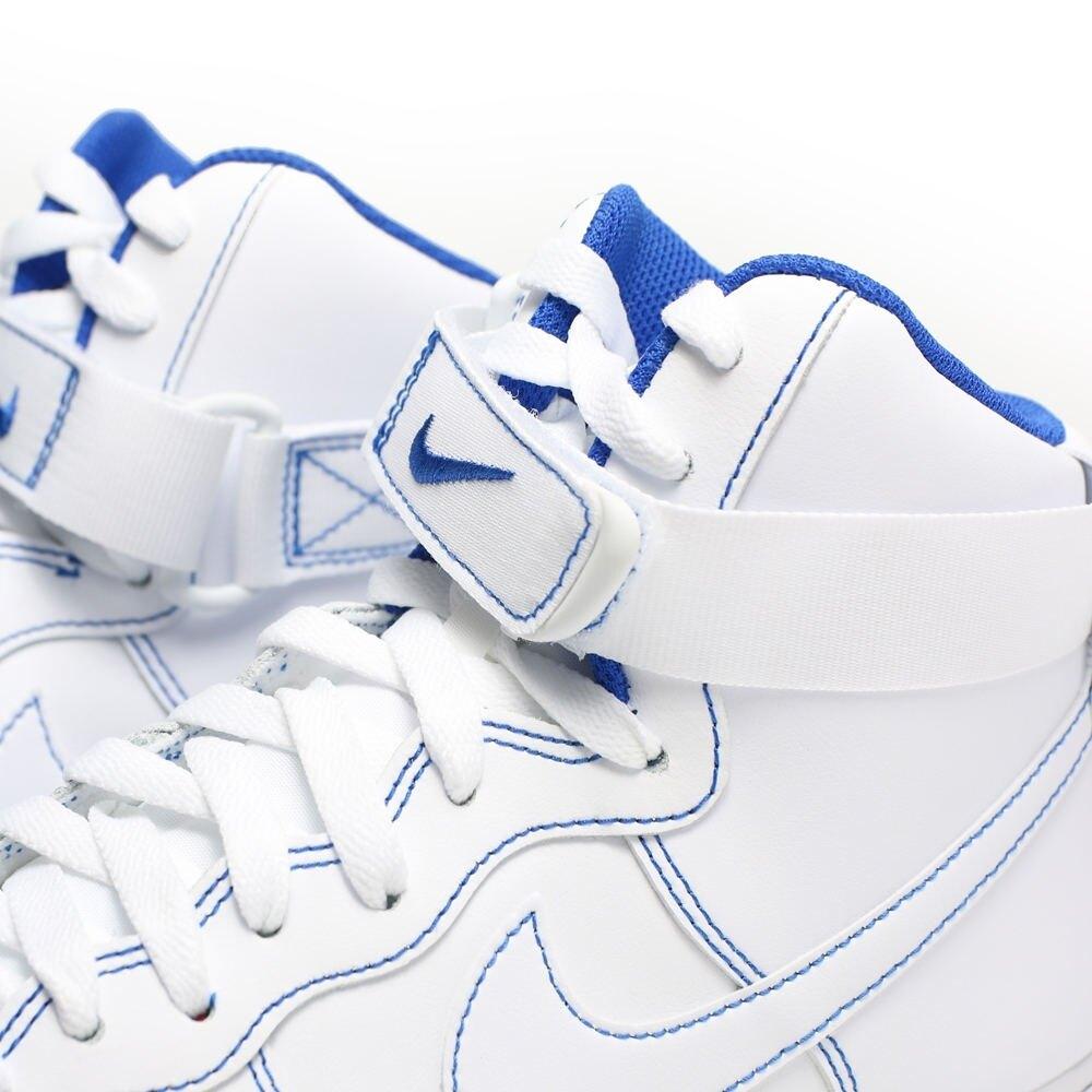 NIKE 休閒鞋 AIR FORCE1 AF1 縫線 全白 白藍 藍線 經典 高筒 魔鬼氈 男 (布魯克林) CV1753-101