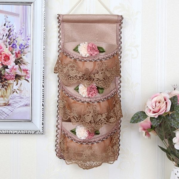 布藝歐式收納袋牆壁門後掛袋衣櫥衣櫃儲物袋內衣襪子雜物收納掛袋 流行花園