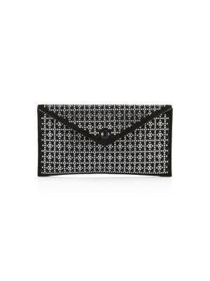 Leather envelope clutch with striking embellishments.; Snap-button flap closure; Silvertone hardware