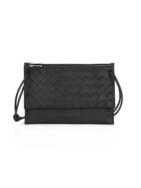 Double pouch design with signature Bottega Veneta basketwoven detail.; Two zip pouches; 6 card slots
