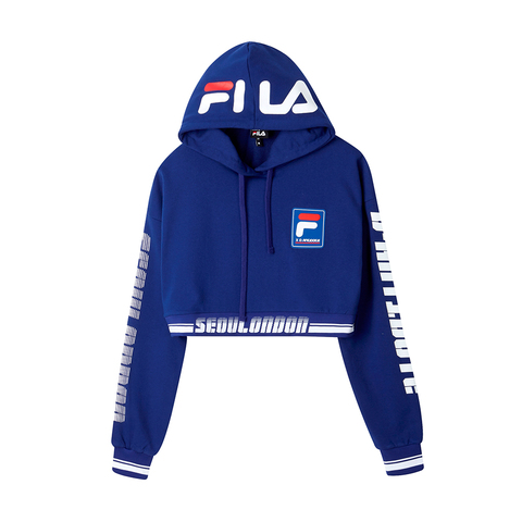 FILA #D-ANTIDOTE聯名 長袖連帽T恤-藍色 5TET-1734-BU