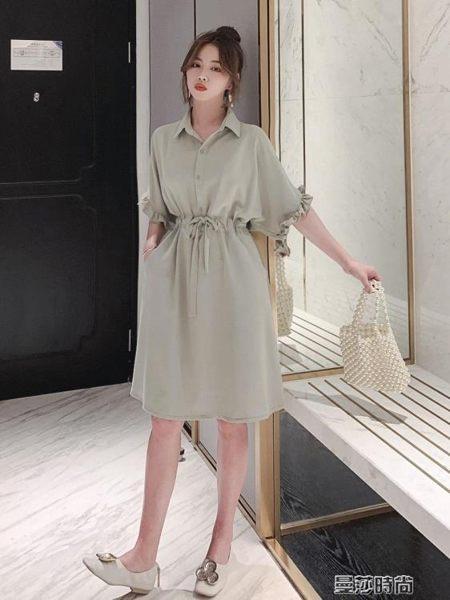 連身裙雪紡襯衣連身裙女2019新款夏顯瘦收腰中長款襯衫裙子仙女超仙森繫 曼莎時尚