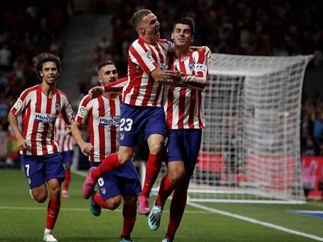 馬德里體育會主場1:0險勝基達菲,莫拉達(右)射入全場唯一入球。(法新社)