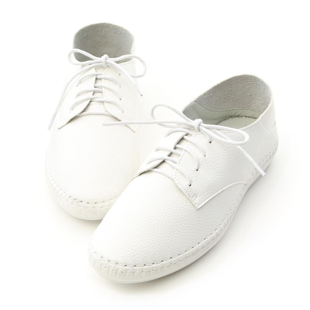 D+AF 活力女孩.超軟縫線底可後踩小白鞋