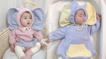 真人版寶寶小飛象!韓國超萌「小飛象連身衣」,舒服又保暖、大耳朵無敵萌~
