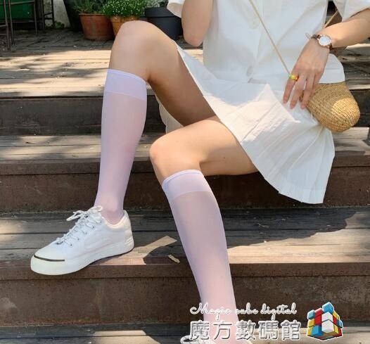 白色小腿襪薄款透明ins潮夏季中長日系襪子女中筒天鵝絨半筒絲襪