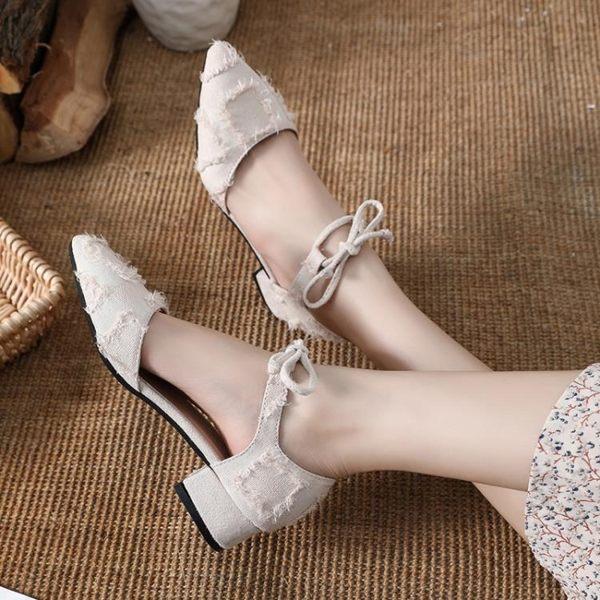 鞋子女低跟中空涼鞋2019春夏新款韓版百搭交叉綁帶高跟鞋粗跟單鞋