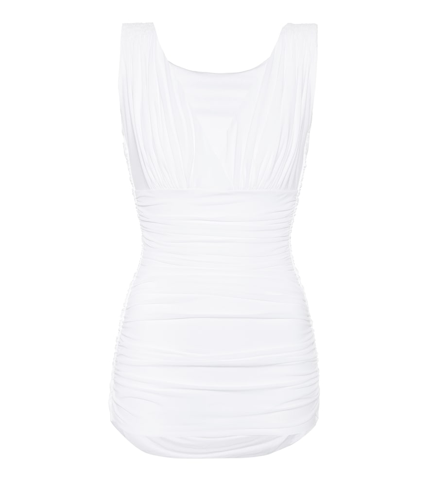 Norma Kamali's Tara Mio swimsuit features a chic V-shaped neckline and is gathered allover to create