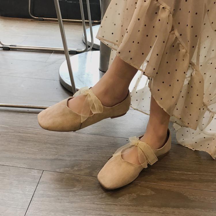方頭鞋 絨面綁帶蝴蝶結芭蕾舞鞋 甜美方頭套腳淺口單鞋平底鞋韓版