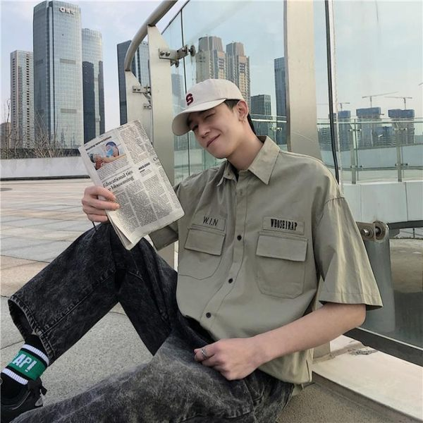 夏季工裝短袖襯衫男寬鬆bf復古ins上衣港風韓版學生多口袋襯衣潮 快意購物網