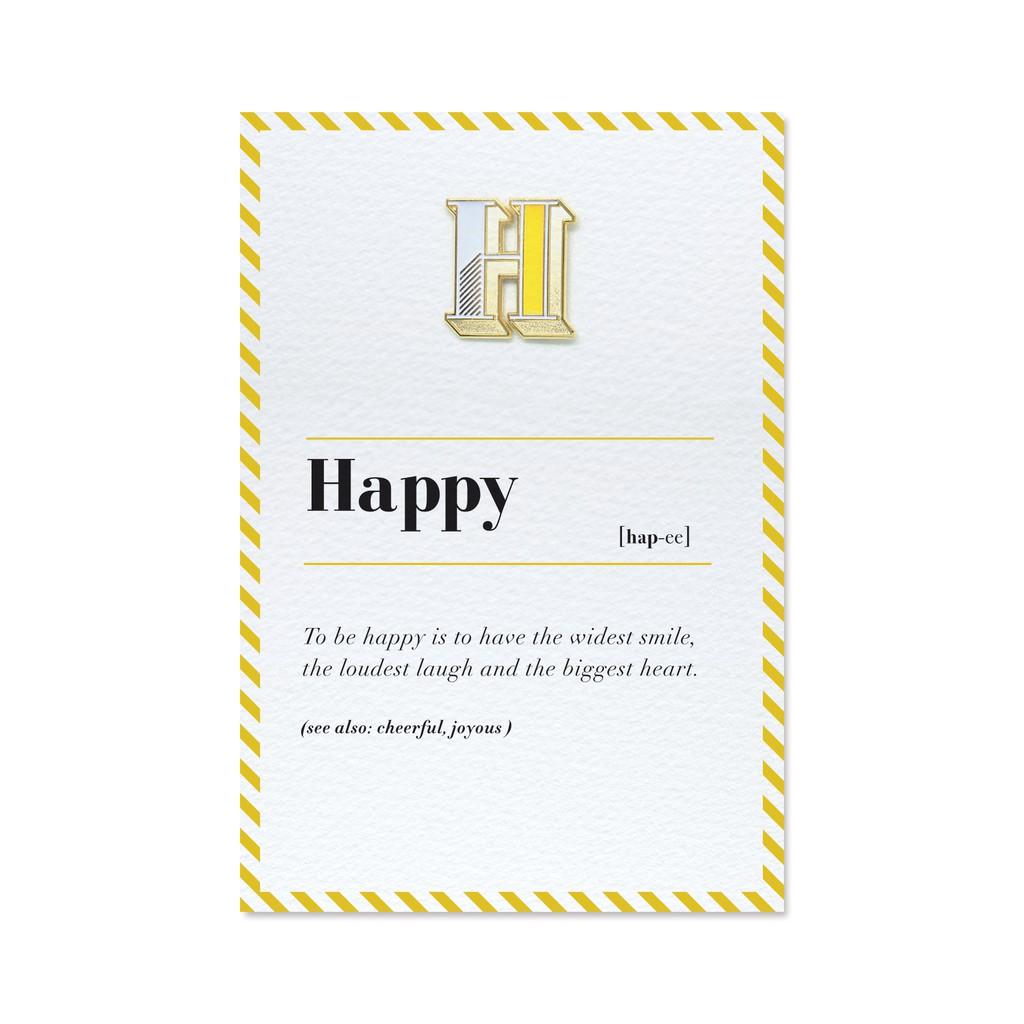 【 H / Happy 】琺瑯徽章字母飾品卡