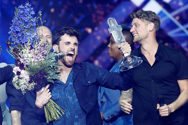 Duncan Laurence of the Netherlands reacts after winning the 2019 Eurovision Song Contest in Tel Aviv, Israel, on May 19, 2019.