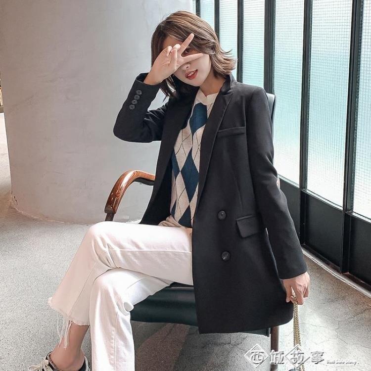 2019秋季新款韓版網紅小西裝外套女寬鬆休閒百搭時尚純色上衣西服