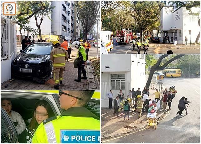 私家車失事剷行人路釀9人傷,大批消防到場救援。