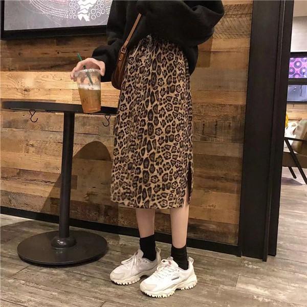 免運 現貨氣質複古小清新韓版學院風百搭高腰顯瘦鬆緊腰側開叉豹紋中長款半身裙A字裙