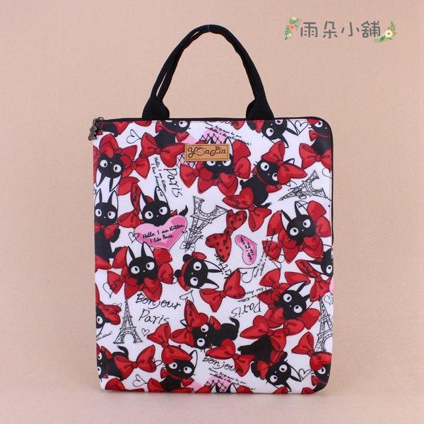 筆電包 包包 防水包 雨朵小舖 M287-385 13吋筆電包(直式)-白KIKI貓大02077 funbaobao