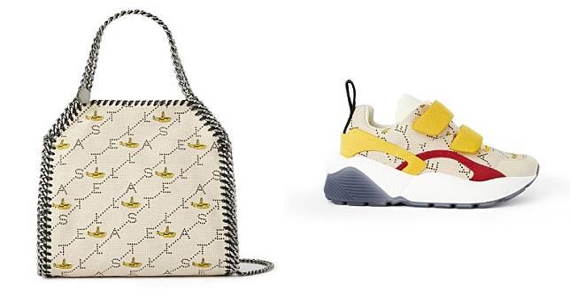 運動鞋和手袋亦披上迷你黃色潛水艇組成的限量版字母商標印花。(互聯網)