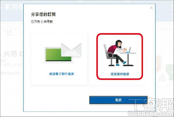 2.分享Office 365授權有兩種,一個是透過電子郵件,另一個是連結邀請。