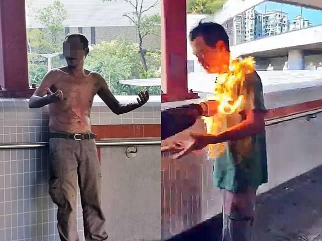 一名57歲姓李男子上周一在海柏花園對開天橋上,因與人爭執被淋易燃液體,頓成火人。