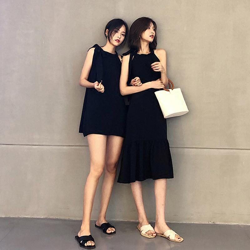 閨蜜裝裙子女夏2019新款姐妹裝流行無袖掛脖吊帶裙超仙小眾連衣裙