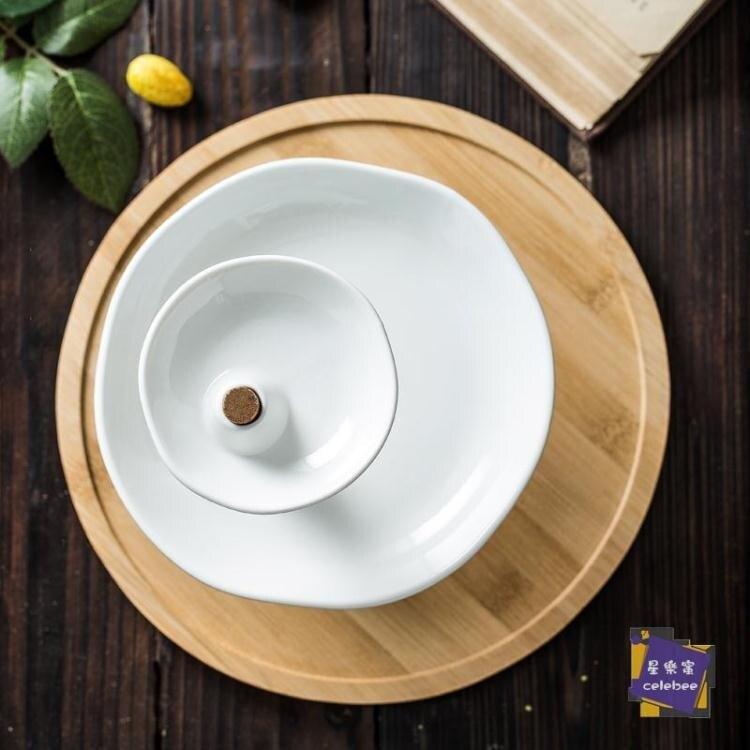 歐式陶瓷三層水果盤家用雙層下午茶點心架蛋糕架干果零食甜品托盤