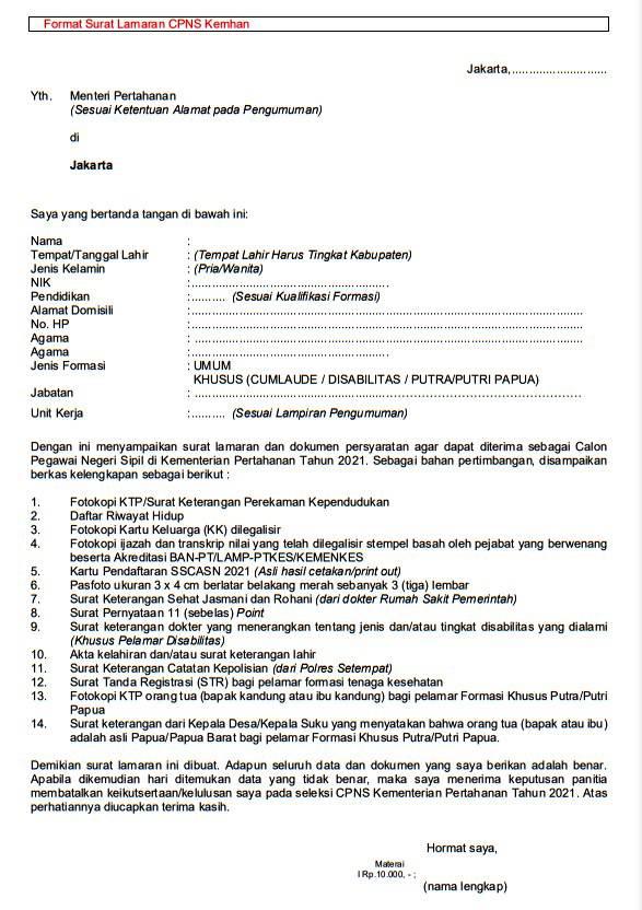 Contoh Surat Lamaran Cpns 2021 Kemhan Dan Surat Pernyataan 11 Point Diunggah Di Sscasn Bkn Go Id Tribunnews Com Line Today