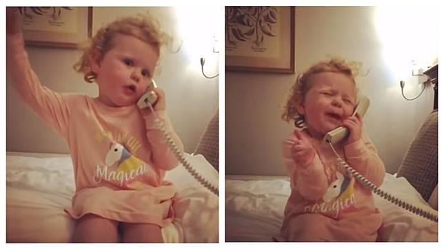 愛爾蘭一名3歲女娃講電話時表情十分逗趣豐富,過程全被父親拍了下來。(圖/翻攝自YouTube)