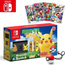 【Nintendo 任天堂】《NS港版》 Switch 精靈寶可夢 皮卡丘&精靈球同捆組 + (精選遊戲四選一)