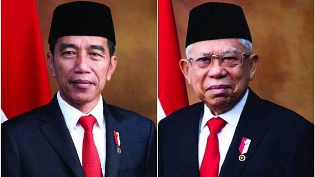 Foto Resmi Presiden dan Wakil Presiden Indonesia 2019-2024, Joko Widodo dan KH. Ma'ruf Amin (Sekretariat Negara)