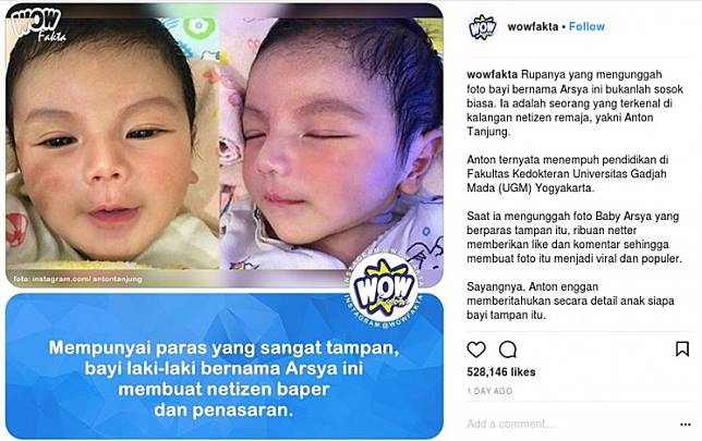 Viral Foto Bayi Ganteng Akun Ini Berikan Klarifikasi
