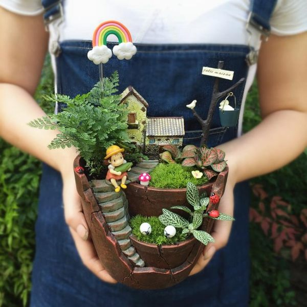創意生日情人節禮物小梅龍貓空中花園苔蘚微景觀生態瓶盆栽diy