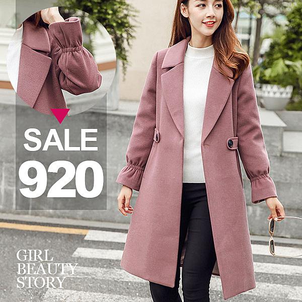 SISI【W9017】現貨甜美氣質毛呢質感翻領中長款修身顯瘦軍裝毛料風衣大衣外套