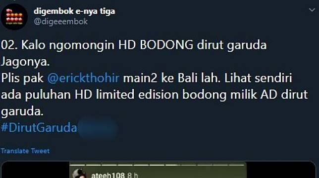 Akun Twitter yang dilaporkan Vice President Cabin Crew PT Garuda Indonesia Roni Eka Mirsa ke polisi. (Twitter/@digeeembok)
